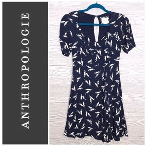Maeve | Anthropologie Blue & White Floral Dress